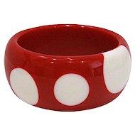 Big Chunky Red & White Polka Dot Bangle Bracelet