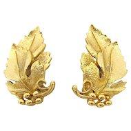 Pair of Lisner Gold Leaf Clip Earrings