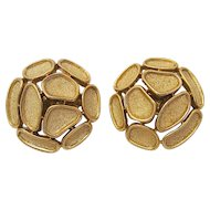 Vintage Mid Century Trifari Brushed Gold Clip Earrings