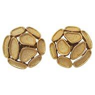 Vintage Mid Century Trifari Brushed Gold Clip Earrings