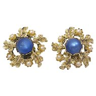 Vintage Clip Earrings with Blue Cabochon, Pearls, Gold Tone Leaves