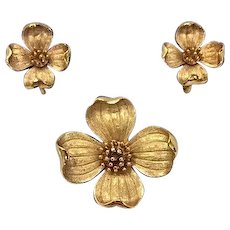 Crown Trifari Golden Dogwood Brooch and Earrings