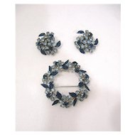 Signed Weiss Blue Rhinestone and Enamel Brooch and Earrings