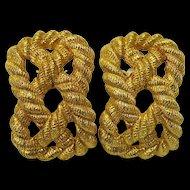 Vintage Carlisle Gold Rope Clip Earrings