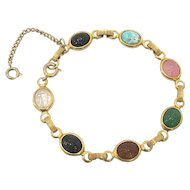 Gold Fill Multi Color Scarab Bracelet