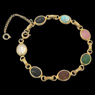 Gold Fill Multi Color Scarab Bracelet