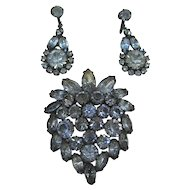 Elegant Blue Rhinestone Brooch and Chandelier Earrings