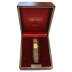 Vintage Modernist Seiko Goldtone Watch in Original Box