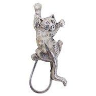 Vintage Sterling Silver Climbing Cat Brooch