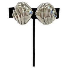 Pair Tiffany & Co Sterling Silver Clip Earrings
