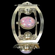 Wide Sterling Silver & Pink/Multi Cabochon Bracelet, Taxco