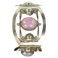 Wide Sterling Silver & Pink/Multi Cabochon Bracelet, Taxco