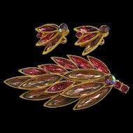 Pink & Lavender Rhinestone Brooch & Earrings Set