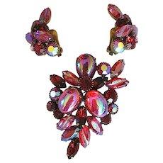 Kramer Red & Iridescent Rhinestone Earrings & Brooch
