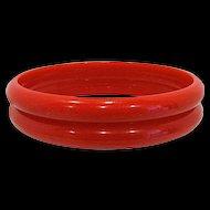 Pair Red Bakelite Bangle Bracelet Spacers