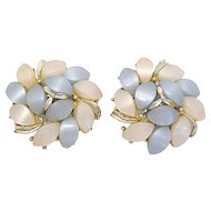 Pretty Kramer Blue and White Thermoset Clip Earrings
