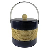 Georges Briard Navy Blue Nautical Ice Bucket