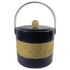 Georges Briard Navy Blue Nautical Ice Bucket
