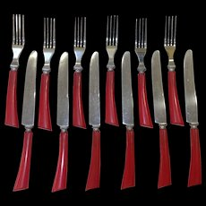 Vintage Robinson Red Bakelite Handle Flatware 6 Forks 6 Knives