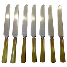 Set of 7 Green Bakelite Handle Flatware Knives by the Goodell Co
