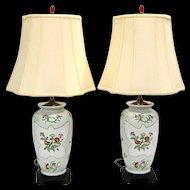 Pair Fine Hand Painted Porcelain Lamps
