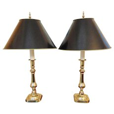 Pair Virginia Metalcrafters Tall Brass Lamps with Shades