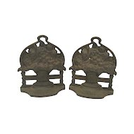 Pair of Vintage Cast Iron Flower Basket Bookends