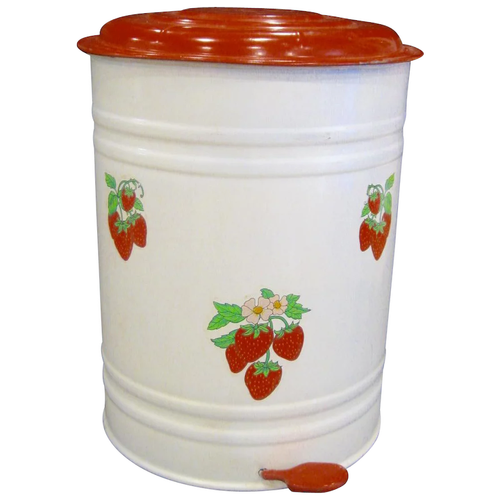 Vintage Tin Step On Kitchen Trash Can Antiques On Ascot Ruby Lane