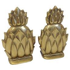 Virginia Metalcrafters Solid Brass Newport Pineapple Bookends