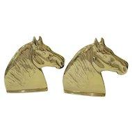Pair Virginia Metalcrafters Brass Percheron Horse Bookends