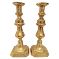 """Pair Antique Victorian 11"""" Brass Push Up Candle Holders"""