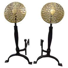 Virginia Metalcrafters Large Iron and Brass Medallion Andirons