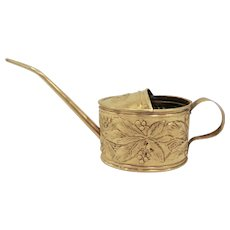 Vintage Dutch Small Embossed Brass Watering Can