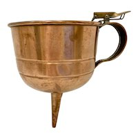 Vintage Large Copper Wine Funnel with Filter