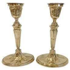 "Pair Mottahedeh 9 1/2"" Brass Georgian Candlesticks Oval Base"
