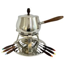 Mid Century Reed & Barton Fondue Set with Forks