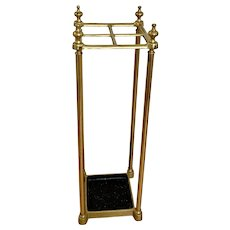Traditional 4 Slot Brass and Cast Iron Umbrella Stand