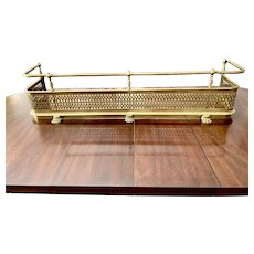 """50"""" Antique Brass Fireplace Fender with Rail, Paw Feet"""