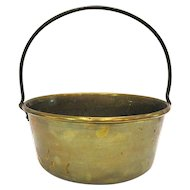Antique Large Brass Fireplace Pot with Iron Handle