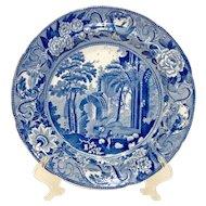 c.1820 Antique Stevenson Blue and White Transferware Plate, Netley Abbey