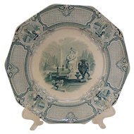 Antique Teal Staffordshire Plate, Corrella by Barker & Sons