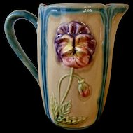 Large French Majolica Pitcher with Pansies