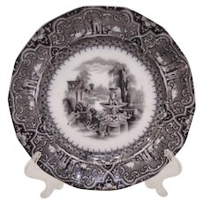 W Adams Athens Staffordshire Transferware Plate Dated January 3 1849