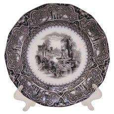 W Adams Athens Staffordshire Transferware Plate Dated January 3 1849