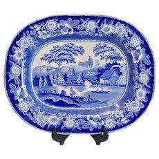 Antique Historic Scene Blue and White Staffordshire Transferware Platter c 1840
