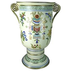 Exquisite Nippon Porcelain Hand Painted Vase, Greek Key and Scroll Handles