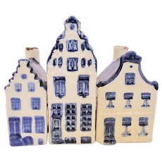 3 KLM Dutch Miniature Delft Houses Nos 2, 5, and 10