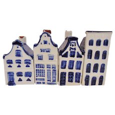4 KLM Dutch Delft Miniature Amsterdam Houses Nos 5, 12, 13, and 27