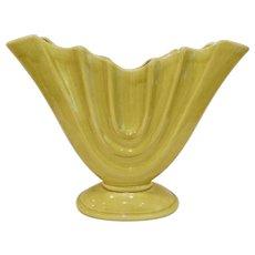 Large Mid Century Camark Pottery Chartreuse Fan Gladiola Vase