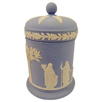 Wedgwood Blue Jasperware Tall Round Box with Lid